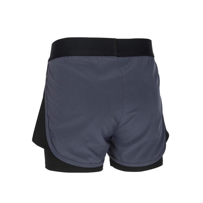 女童透氣雙層健身短褲W500 - 粉色印花