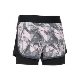 Girls' Breathable Double Gym Shorts W500 - Pink Print