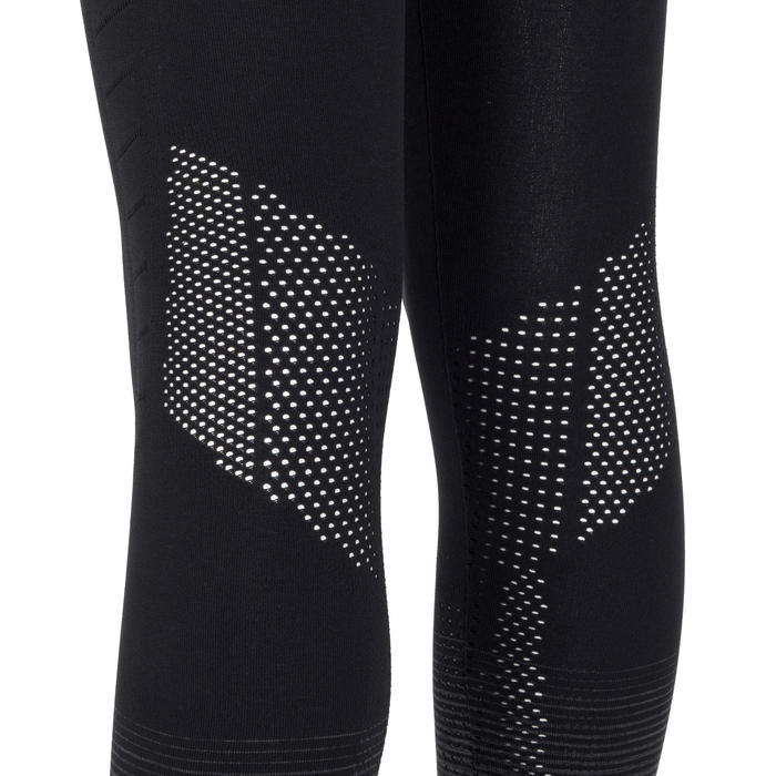 Leggings transpirables técnicos S900 niña GIMNASIA INFANTIL negro, bajos grises