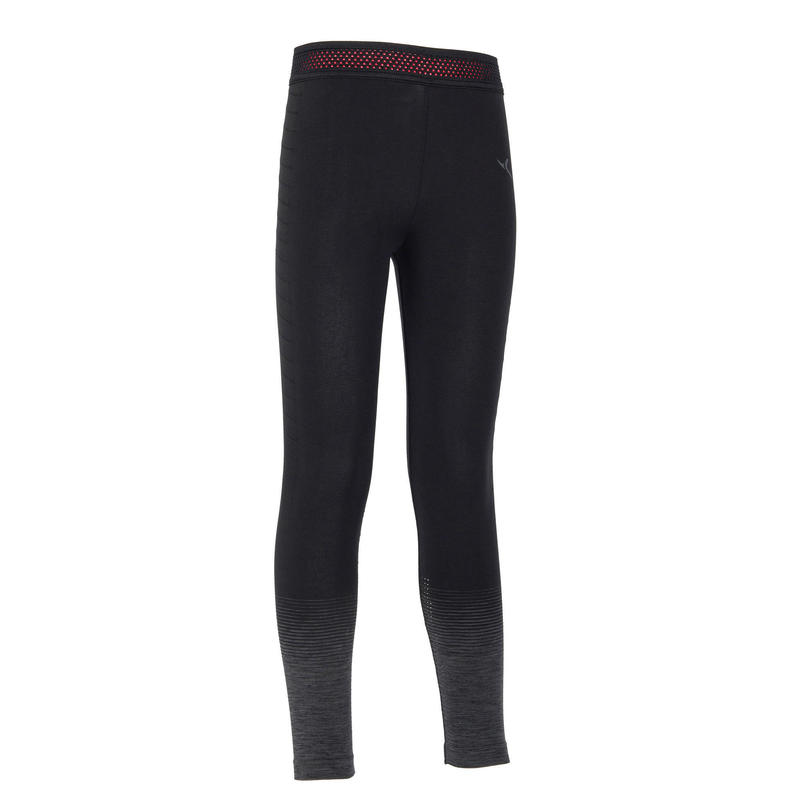 Girls' Technical Breathable Gym Leggings S580 - Black/Grey Hem