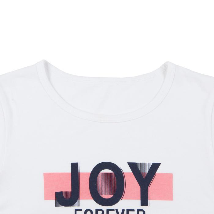 T-Shirt manches courtes 100 fille GYM ENFANT blanc imprimé
