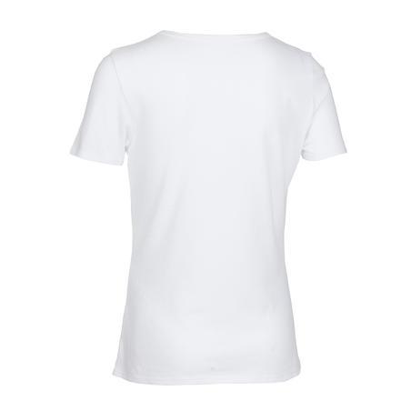 טישירט ספורט 100 לבנות - לבן הדפס