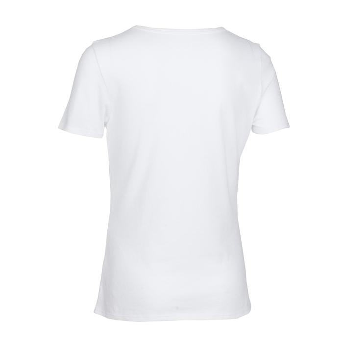 T-shirt met korte mouwen voor gym meisjes 100 wit/opdruk