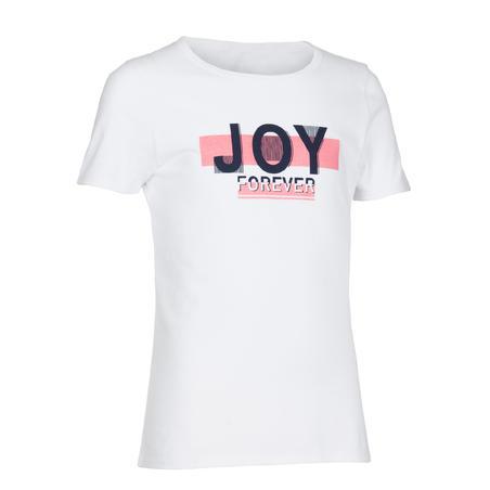 Спортивна футболка 100 для дівчат - Біла з принтом