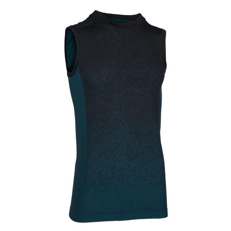 Mouwloos shirt voor yoga heren naadloos blauw