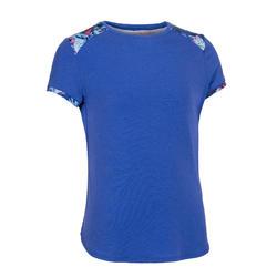 女童健身棉質透氣短袖T恤500 - 紫色/肩膀印花