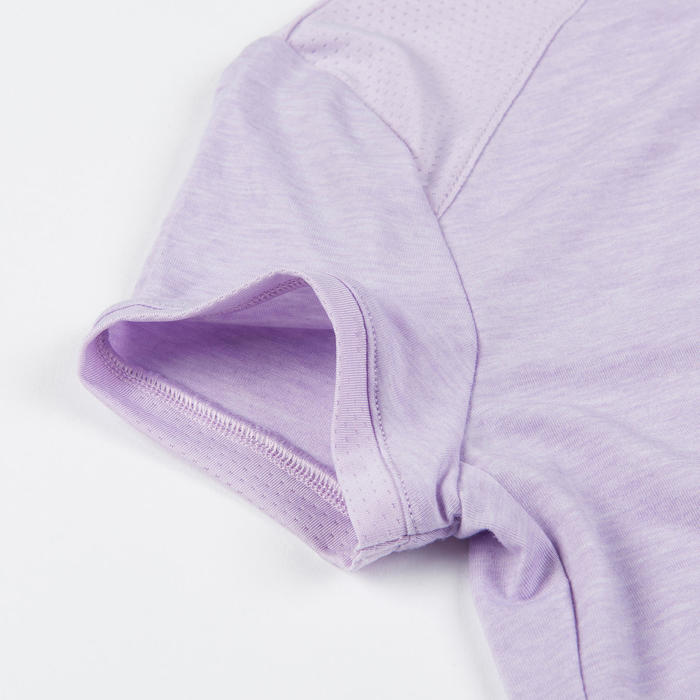 Girls' Breathable Short-Sleeved Gym T-Shirt 500 - Purple Print