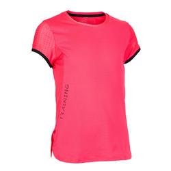 女童透氣健身T恤S900 - 霓虹粉