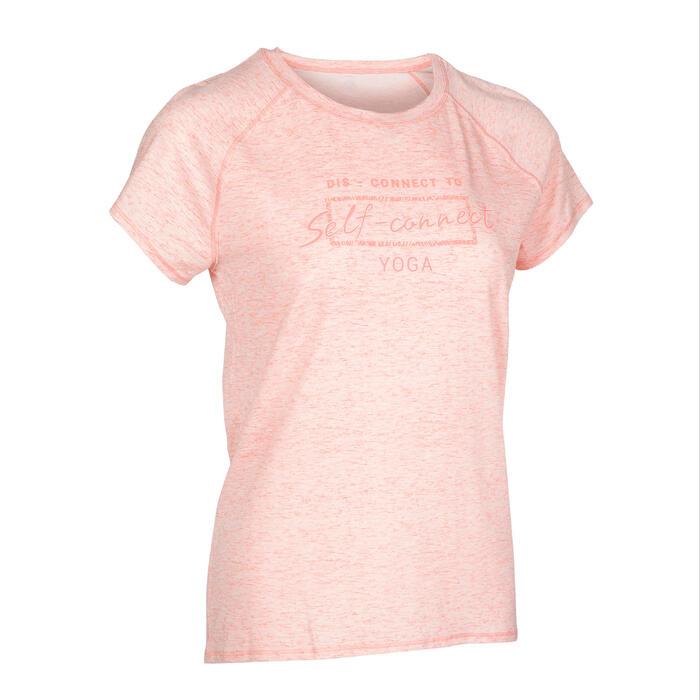 女款舒緩瑜珈T恤 - 珊瑚紅