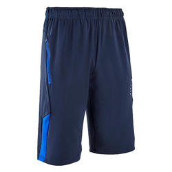 Short de football long adulte T500 bleu foncé