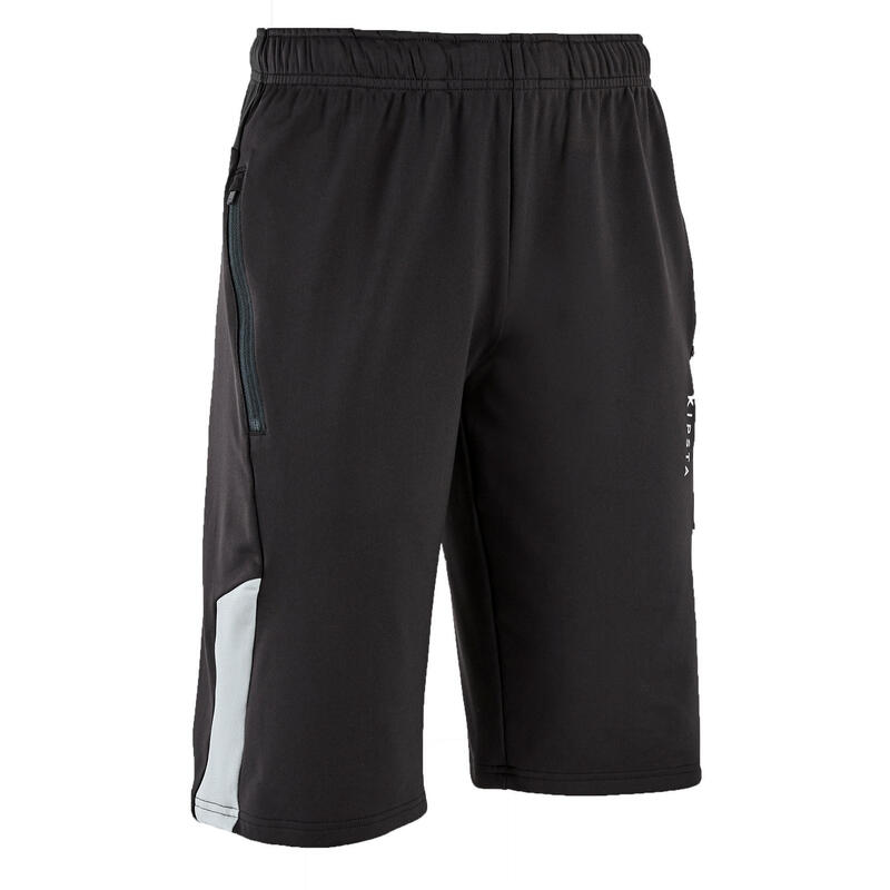 成人款足球短褲T500-黑色