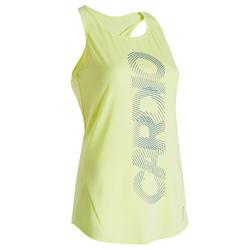 Débardeur fitness cardio training femme jaune 120