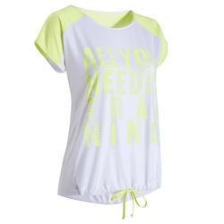 T-shirt fitness cardio training femme blanc et jaune fluo imprimé 120