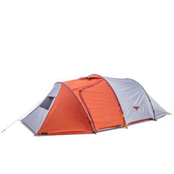 3-season trekking tunnel tent - TREK 500 grey orange 4 person