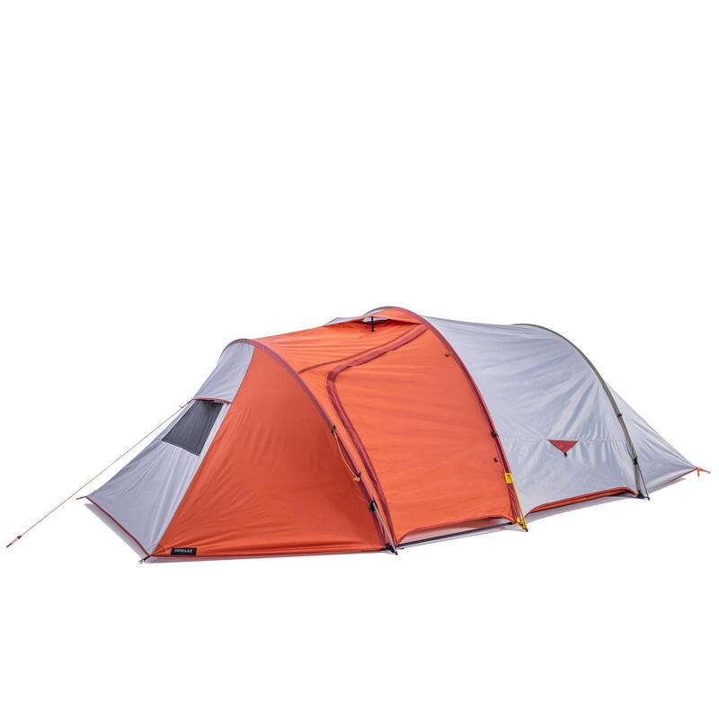 3-season trekking tunnel tent - TREK 500 grey orange 4 person