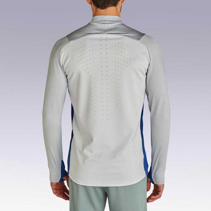 Adult 1/2 Zip Football Sweatshirt Traxium - Light Grey/Blue