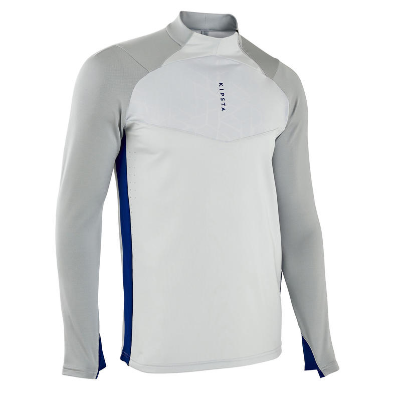 Sweat de football 1/2 zip adulte TRAXIUM gris clair et bleu