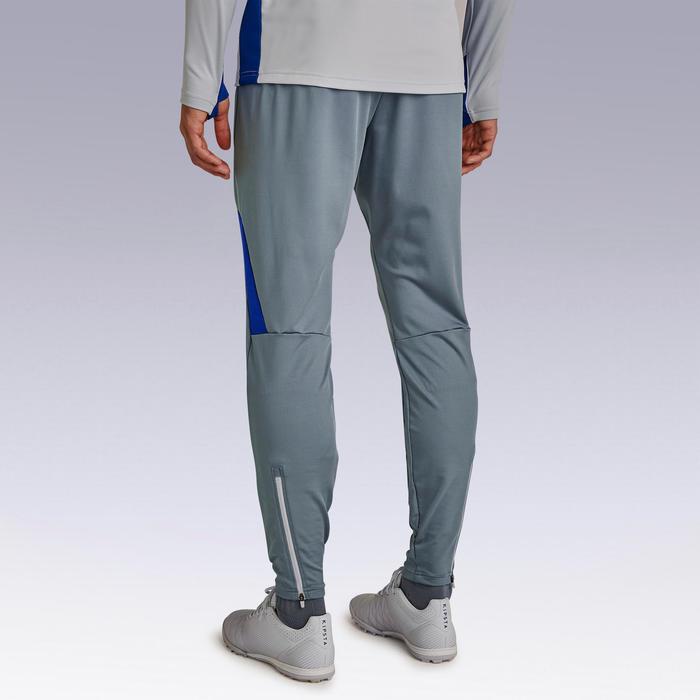 成人款足球長褲T500-灰色/藍色