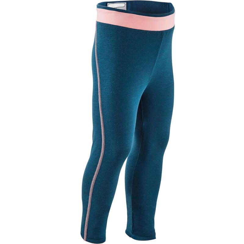 Ademende legging voor kleutergym meisjes blauw en roze