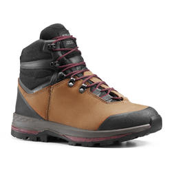 Women's leather mountain trekking boots with flexible soles - TREK100 LEATHER