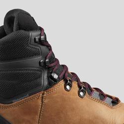 Leren schoenen voor bergtrekking dames Trek 100 soepele zool