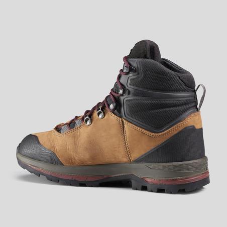 Women's Leather Mountain Trekking Boots with Flexible Soles - TREK100 LEATHER