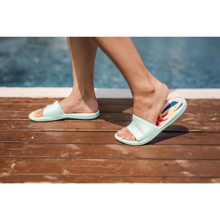 兒童沙灘拖鞋Slap 500-棕梠綠色珊瑚色