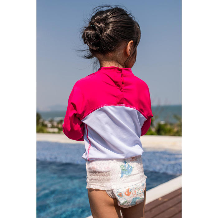 Baby UV Protection Long Sleeve T-Shirt - White and Pink Print