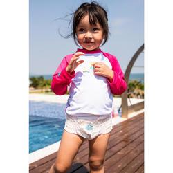 嬰幼兒抗紫外線長袖T恤 - 白色和粉紅色印花