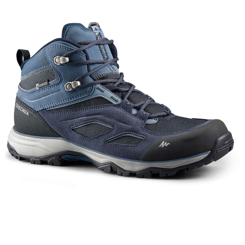 MEN MOUNTAIN HIKING SHOES Hiking - M MH100 MID WTP - Blue QUECHUA - Outdoor Shoes