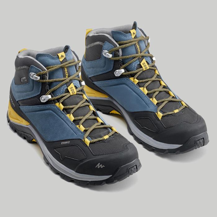 Chaussures imperméables de randonnée montagne - MH500 Mid Bleu/Jaune - Homme