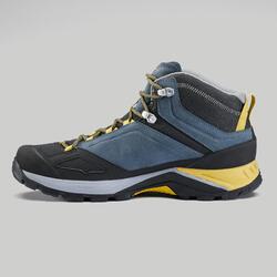 男款中筒防水登山健行鞋MH500-藍色/黃色