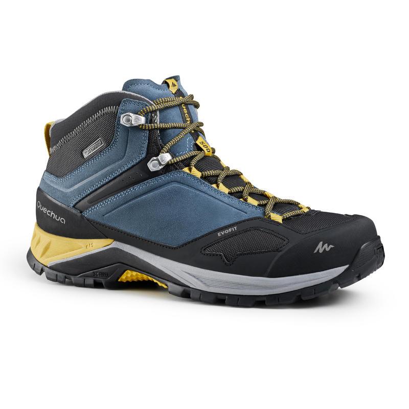 Men's waterproof mountain walking shoes - MH500 Mid - Blue/Yellow