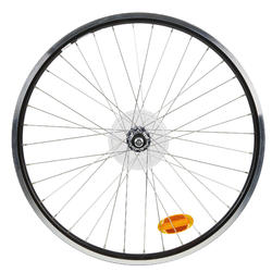 "Achterwiel voor hybridefiets 26"" dubbelwandig freewheel V-brake zwart"