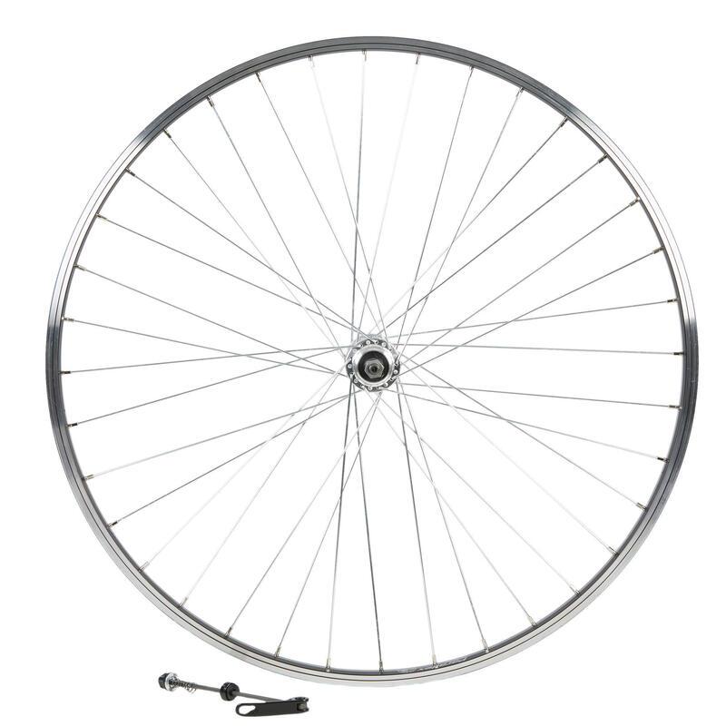 "Wheel Rear 28"" Double Wall Rim Freewheel V-Brake Screw Hybrid Bike - Black"