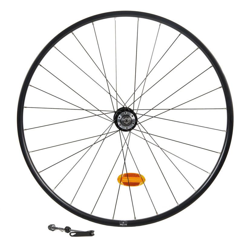 """Voorwiel voor hybride fiets 28"""" verstevigde dubbele wand voor schijfrem QR zwart"""