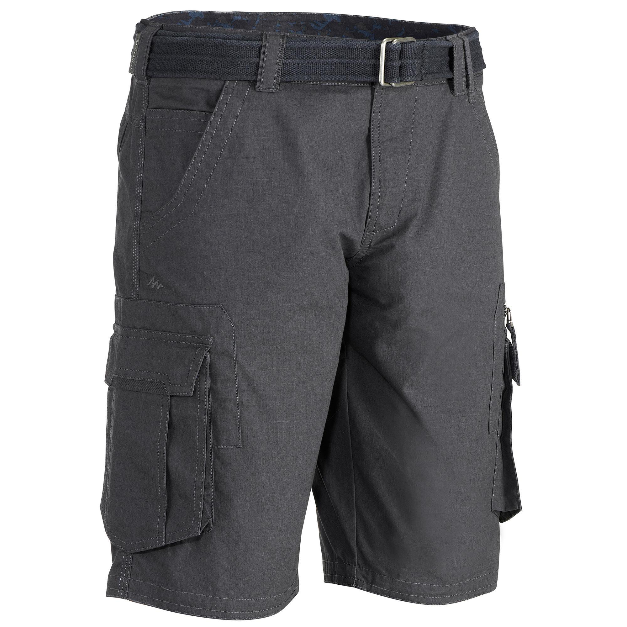 Men's Arpenaz 500 cargo grey trekking shorts   Quechua