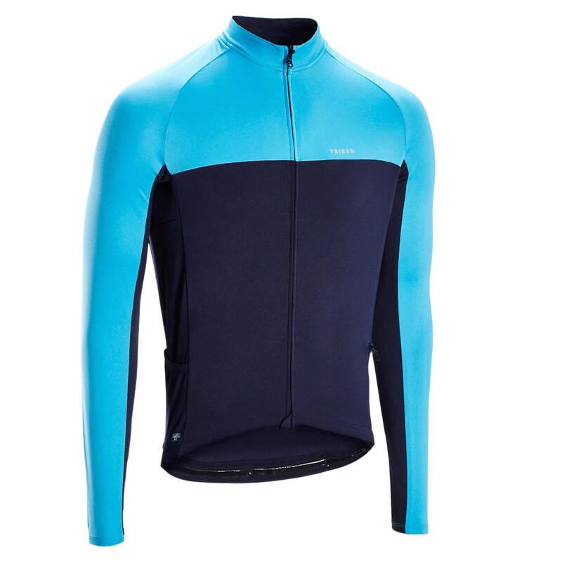 PÁNSKÉ OBLEČENÍ NA SILNIČNÍ CYKLISTIKU DO TEPLÉHO POČASÍ Cyklistika - DRES RC100 UVP MODRÝ TRIBAN - Helmy, oblečení, obuv