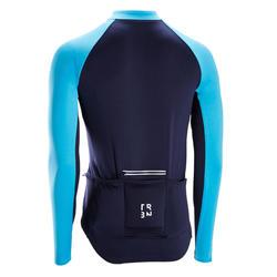 Fietsshirt met lange mouwen voor heren warm weer RC100 anti-uv marineblauw/blauw