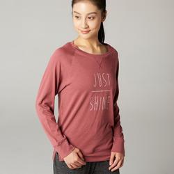 Women's Regular-Fit Long-Sleeved Pilates & Gentle Gym Sport T-Shirt 500 - Mauve