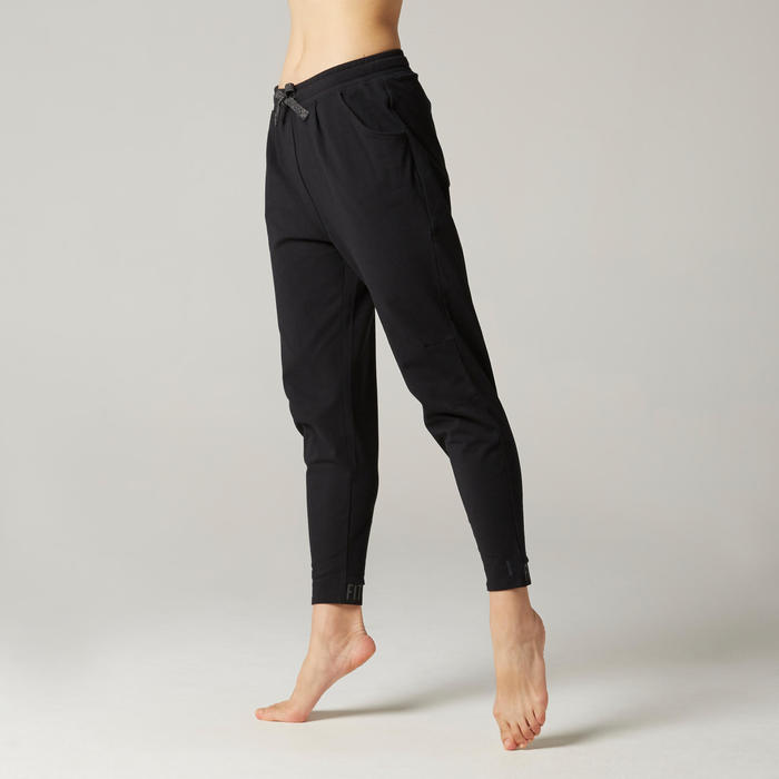 Women's Pilates & Gentle Gym Bottoms 500 - Black