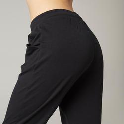 女款皮拉提斯與溫和健身長褲500 - 黑色