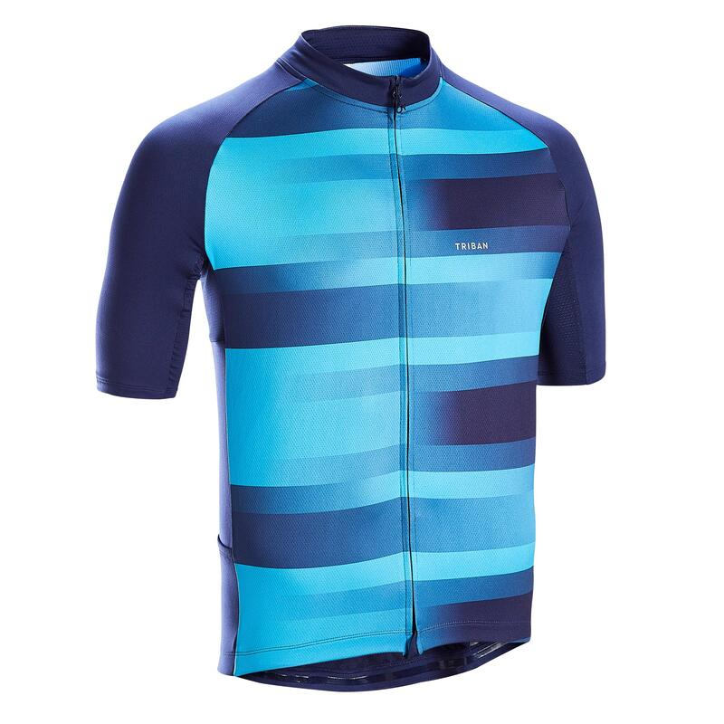 MAILLOT MANCHES COURTES VELO ROUTE TPS CHAUD TRIBAN RC100 VIB NAVY