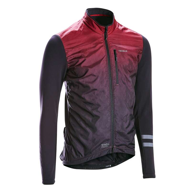 MEN MID-SEASON ROAD APPAREL Cycling - Jersey RC500 Shield - Burgundy TRIBAN - Cycling