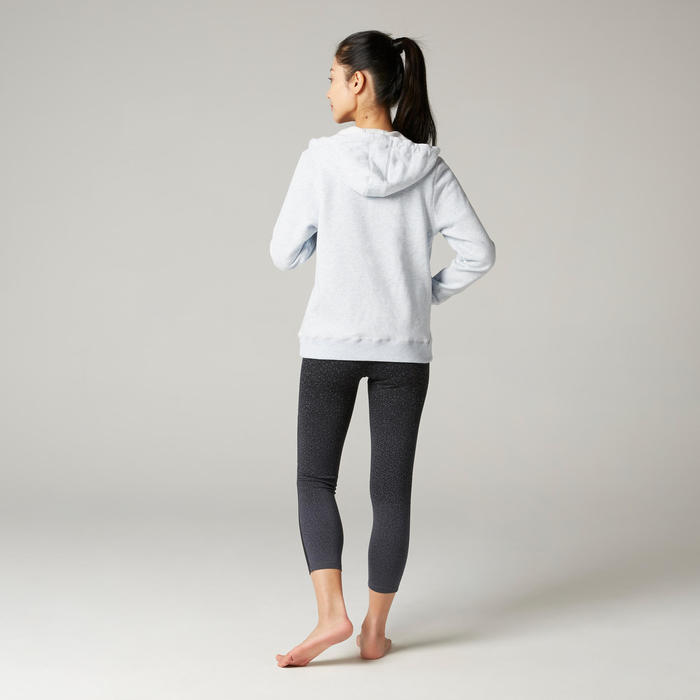 Women's Hooded Pilates & Gentle Gym Jacket 500 - Blue