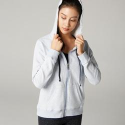 女款溫和健身與皮拉提斯連帽外套500 - 藍色