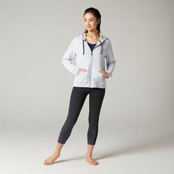 Women's Hooded Pilates & Gentle Gym Jacket 500 - Blue