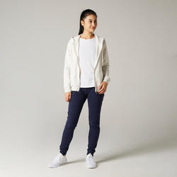 Women's Pilates & Gentle Gym Hooded Jacket 500 - Mottled White