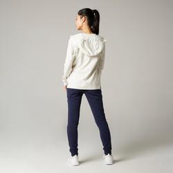 女款皮拉提斯與溫和健身連帽外套500 - 雜白色
