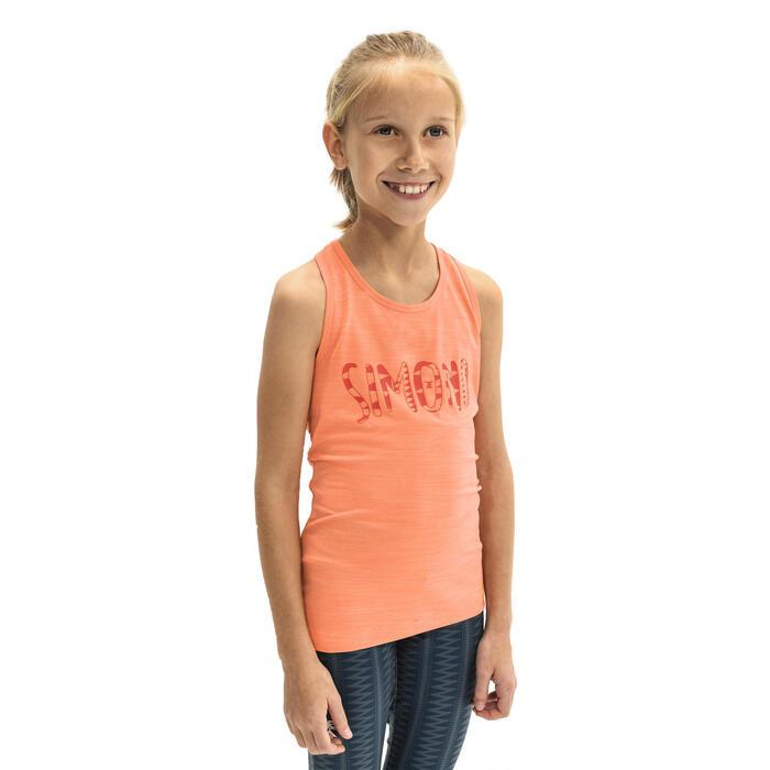 Klimtop stretch voor meisjes oranje kosmosblauw